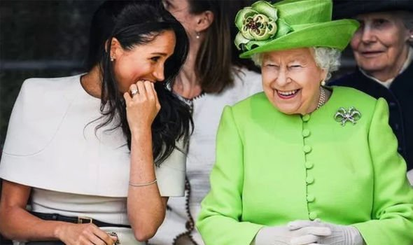 The Queen and Meghan on their first official appearance together Image GETTY