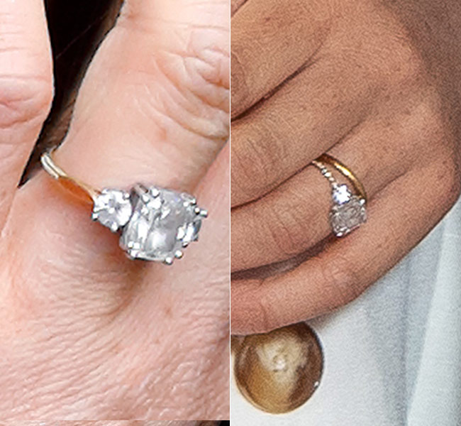 The before and after pictures of Meghans engagement ring Photo C PA