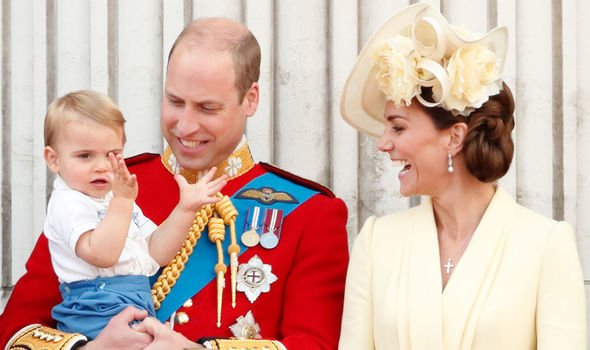The happy pair with Prince Louis at this months Trooping the Colour Image Getty