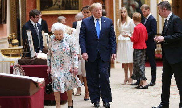 Trump alongside the Queen during the banquet Image GETTY