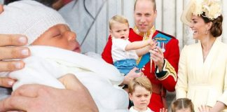 Archie christening Kate Middleton and Prince William with their three children Image Getty