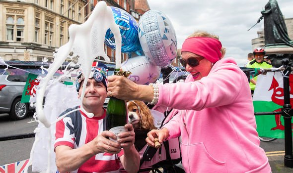 Archie christening Royal fans John Loughrey and Anne Daley celebrate the day in Windsor Image Luke Dray Getty