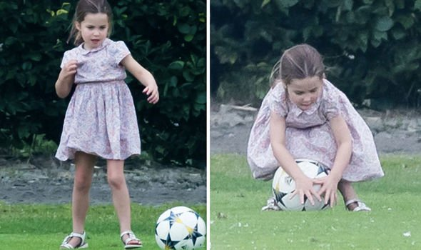 But Princess Charlotte was looking the part as she played a game of football Image GETTY