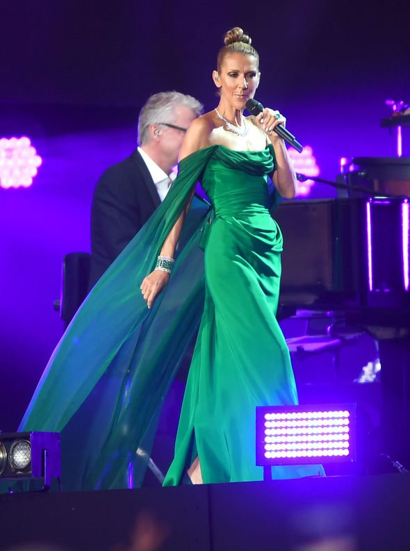 Celine Dion changed into an evening gown to belt out her famous hits Image Getty Images