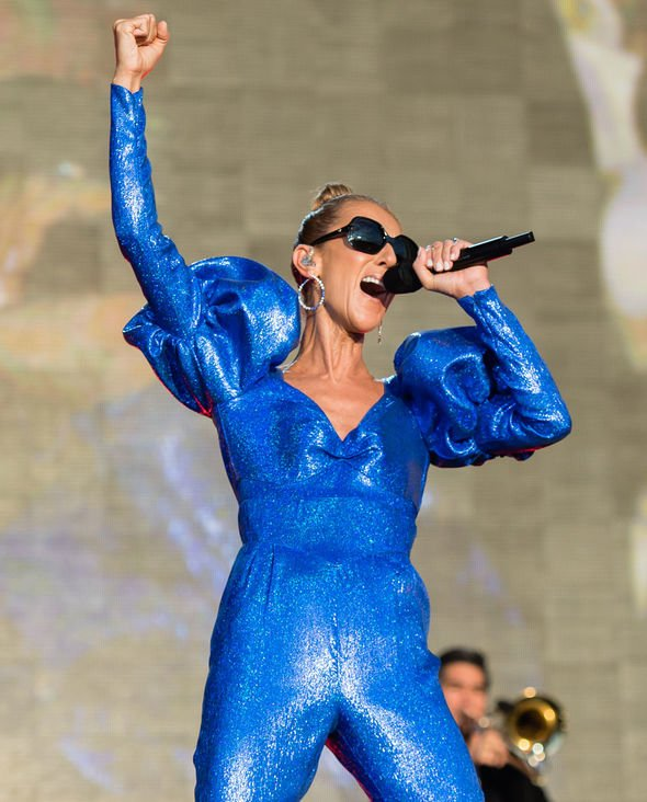 Celine Dion donned an eye catching blue number for the concert Image Getty Images
