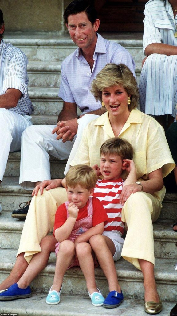 Charles and Diana sit with their sons William right and Harry left on holiday in Spain in Photo C Getty Images