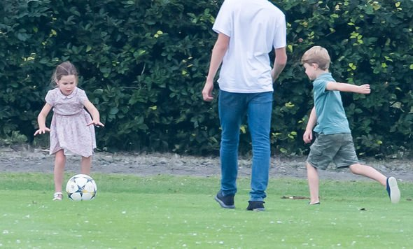 George joined Charlotte for a game of football Image GETTY