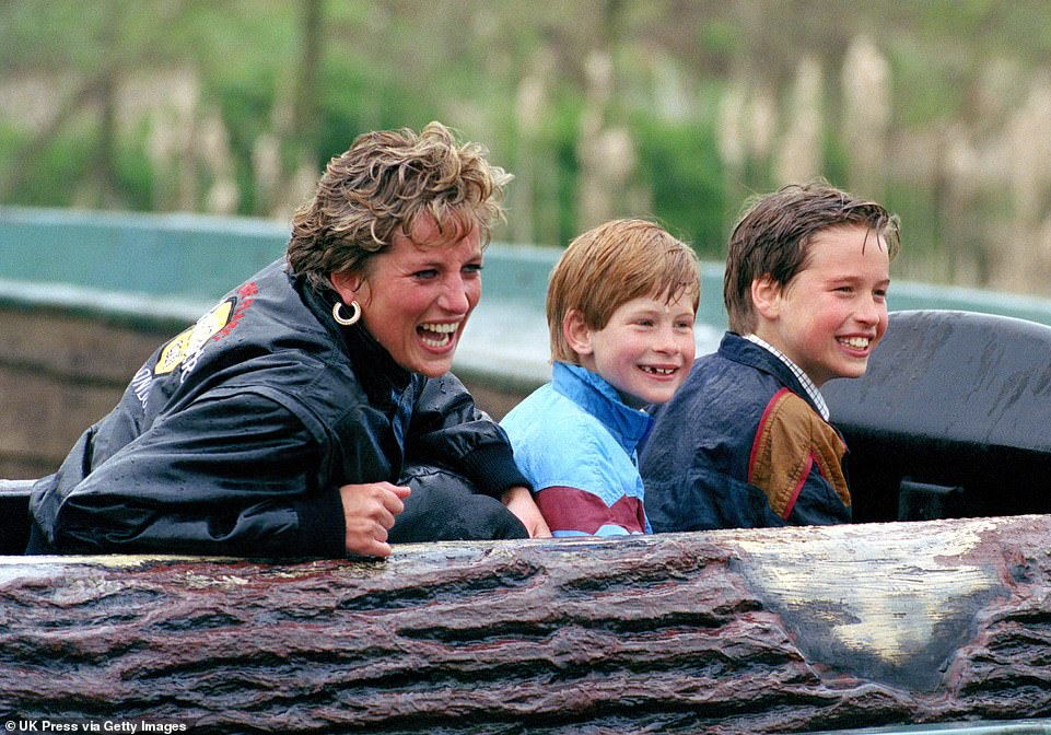 Harry and William are pictured as youngsters beaming with their mother after getting splashed on the log flume at Thorpe Park Photo C Getty Images