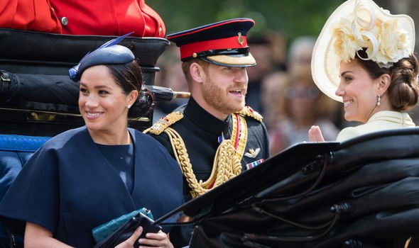 Kate Middleton Harry and Meghan at Trooping the Colour Image GETTY