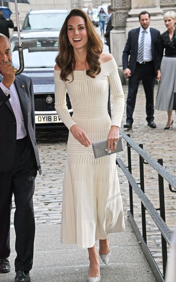 Kate Middleton pregnancy Kate stunned in a white dress last week Image GETTY