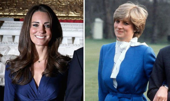 Kate and Diana both opted for a blue dress during their respective engagement announcements Image GETTY