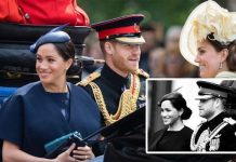 Kate and Prince William were cut out in two pictures that appeared on Meghan and Harrys instagram Image GETTY
