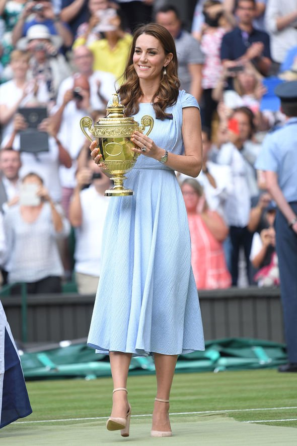 Kate presented the Wimbledon trophy to Novak Djokavic on Sunday Image Getty