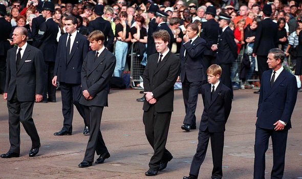 Lord Spencer next to Prince William and Prince Harry at Princess Dianas funeral Image GETTY