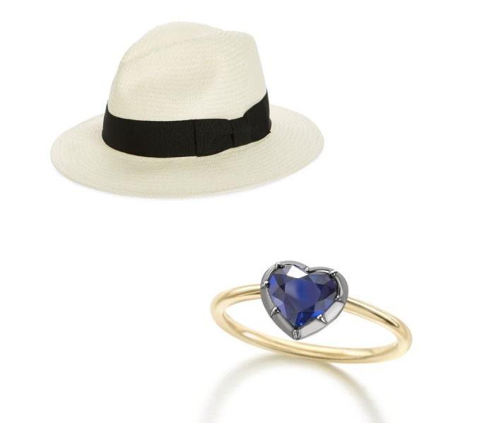 Madewell x Biltmore Panama Hat and Signature Sapphire Heart Button Back Ring Photo C GETTY IMAGES