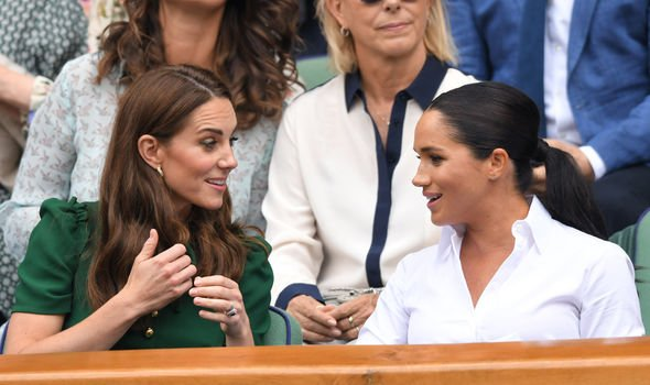 Meghan Markle sits with Kate at Wimbledon Image GETTY