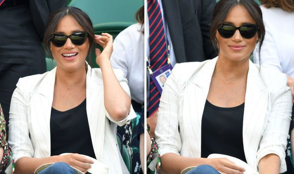 Meghan Markle was spotted at Wimbledon donning a necklace with the letter A on it Image Getty