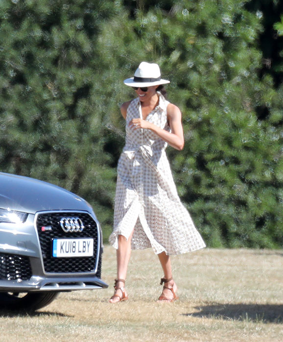 Meghan also wore her go to hat for a trip to the polo in June Photo C Getty Images