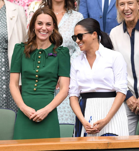 Meghan and Kate watched Serena Williams play the ladies singles final on centre court Image Getty