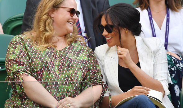Meghan shared a joke with her pal as she attended Wimbledon Image REUTERS