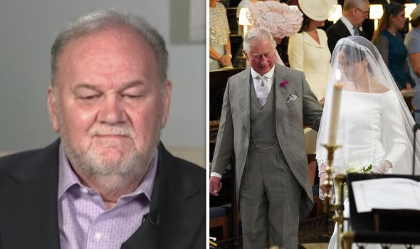 Meghan was walked down the aisle by Prince Charles instead of her father Thomas Markle Image ITV GETTY