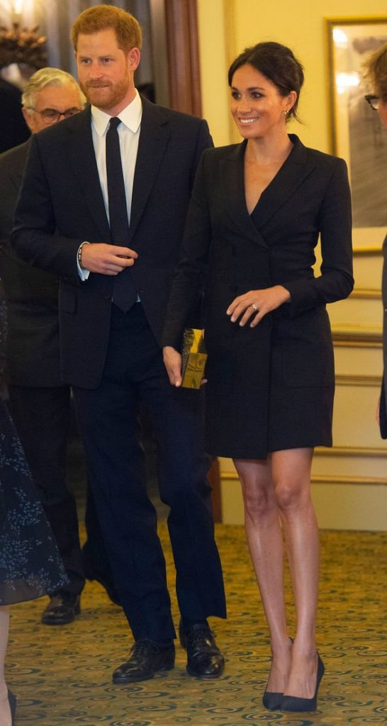 Meghan wore a black tuxedo dress to a Hamilton event last year Image Getty