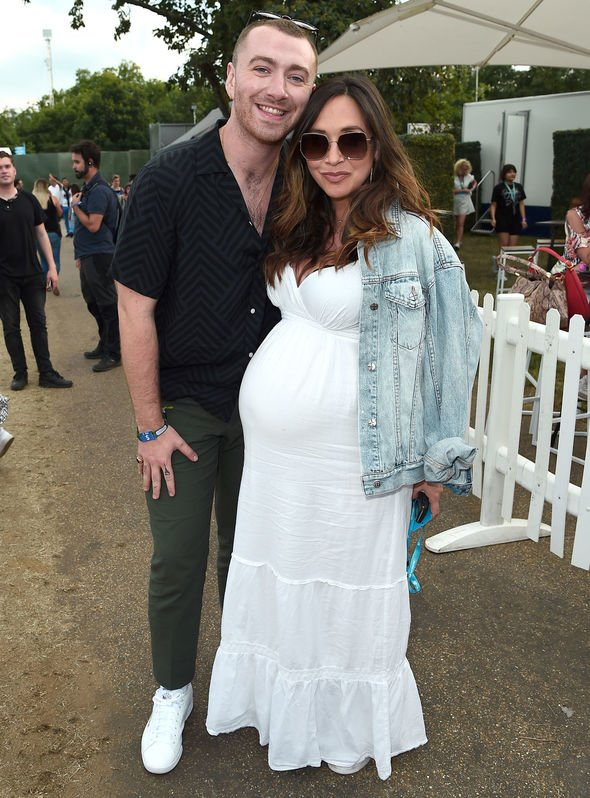 Pregnant Myleene Klass and singer Sam Smith posed for pictures at the event Image Getty Images