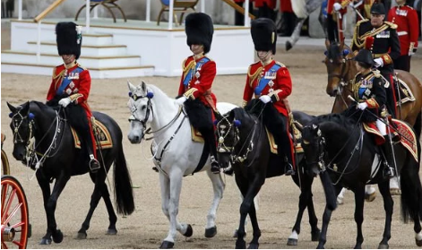 Prince Charles Prince Andrew Princess Anne and Prince William on horseback in this years parade Image Getty