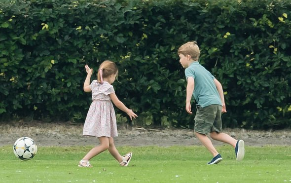 Prince George enjoying the summer holidays with Princess Charlotte Image GETTY