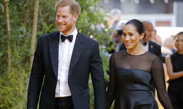 Prince Harry and Meghan Markle at the European premiere of The Lion King Image GETTY