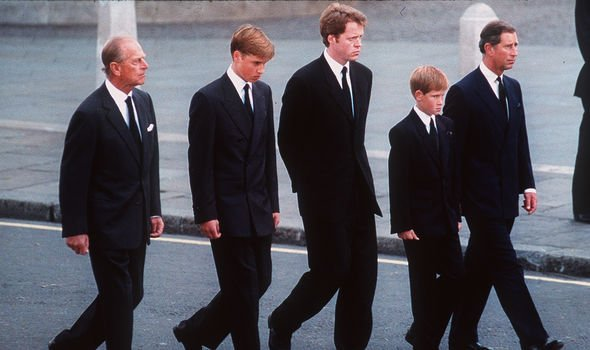 Prince Harry walked behind the coffin at Dianas funeral Image GETTY