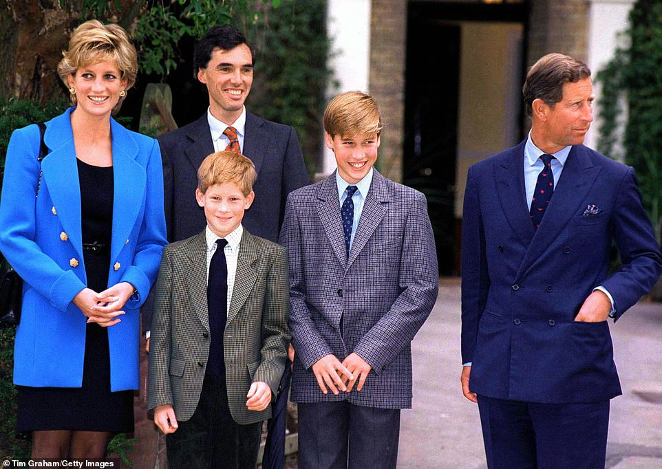 Princess Diana is pictured with a slightly older Prince Harry second left and William second right Photo C Getty Images