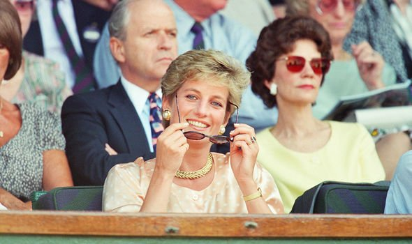 Princess Diana smiling for the cameras at Wimbledon Image GETTY