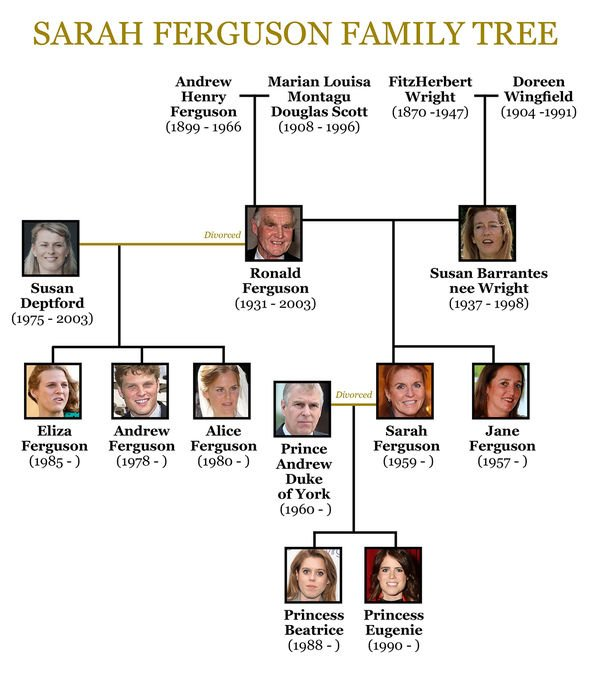 Royal news Sarah Fergusons family tree Image Express