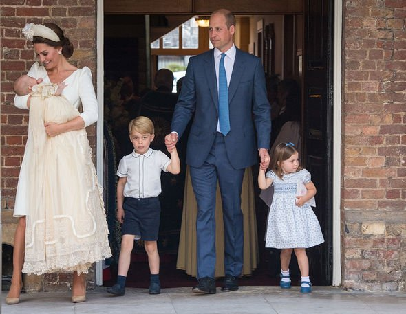 The Cambridge family at Louis christening Image GETTY