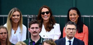 The Duchess of Cambridge with Katie Boulter left and Anne Keothavong Credit Victoria Jones PA