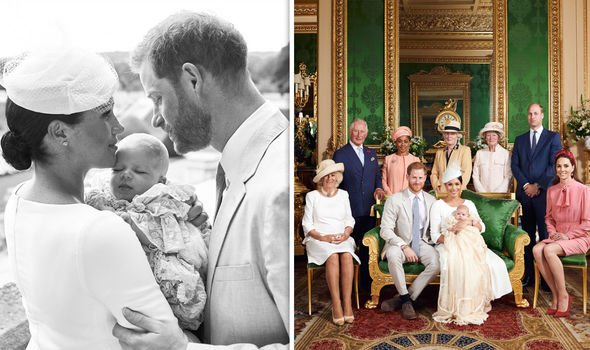 Two pictures were released by the royal couple following the christening Image Getty