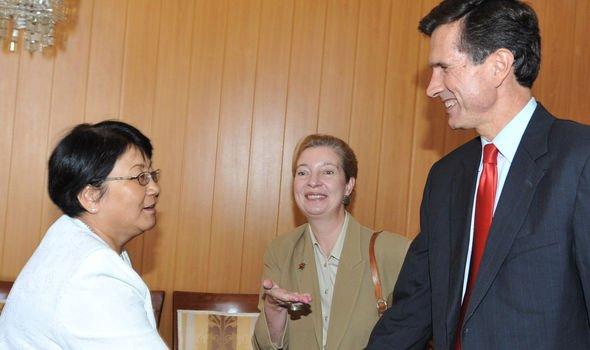 US ambassador to Kyrgyzstan Tatiana Gfoeller centre Image GETTY