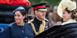 cropped Kate Middleton Harry and Meghan at Trooping the Colour Image GETTY