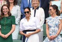 cropped Meghan Markle and Kate were all smiles at Wimbledon on Saturday Image Getty