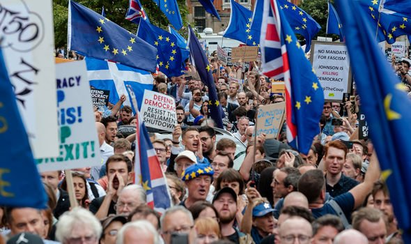 Brexit news Furious protesters have taken to the streets in anger at Boris Johnson Image GETTY