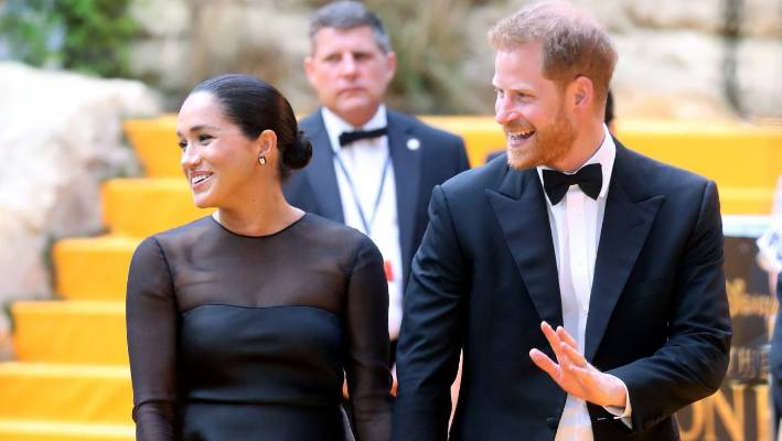 CHRIS JACKSON GETTYPrince Harry Duke of Sussex and Meghan Duchess of Sussex attend The Lion Kings European Premiere