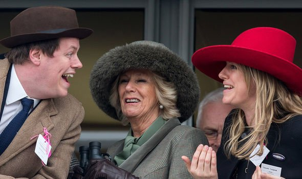 Camilla with Tom and Laura at Cheltenham Image GETTY