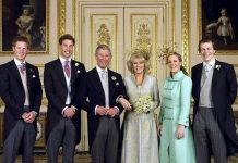 Charles Prince of Wales and Camilla Duchess of Cornwall with their children on their wedding day Image GETTY