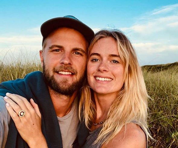 Cressida Bonas can be seen showing off her stunning engagement ring Image Instagram Harrywent