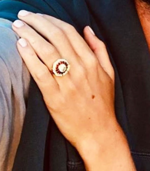 Cressida Bonas engagement The ring has a large centre diamond ringed by rubies Image INSTAGRAM HARRYWENT