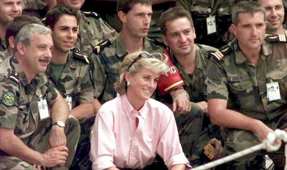 Diana visited troops in Sarajevo Image GETTY