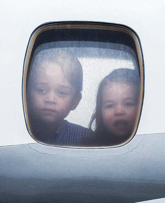 George and Charlotte pictured previously boarded a FlyBe flight Photo C GETTY IMAGES
