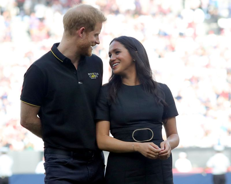 Harry and Meghan at a baseball game in June Photo Getty