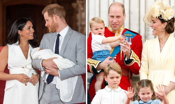 Harry and Meghan with baby Archie William and Kate with George Charlotte and Louis Image GETTY